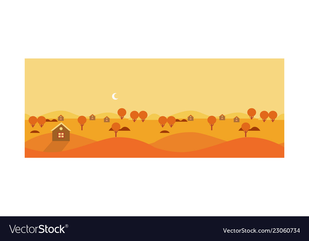 Autumn rural landscape with yellow fields and