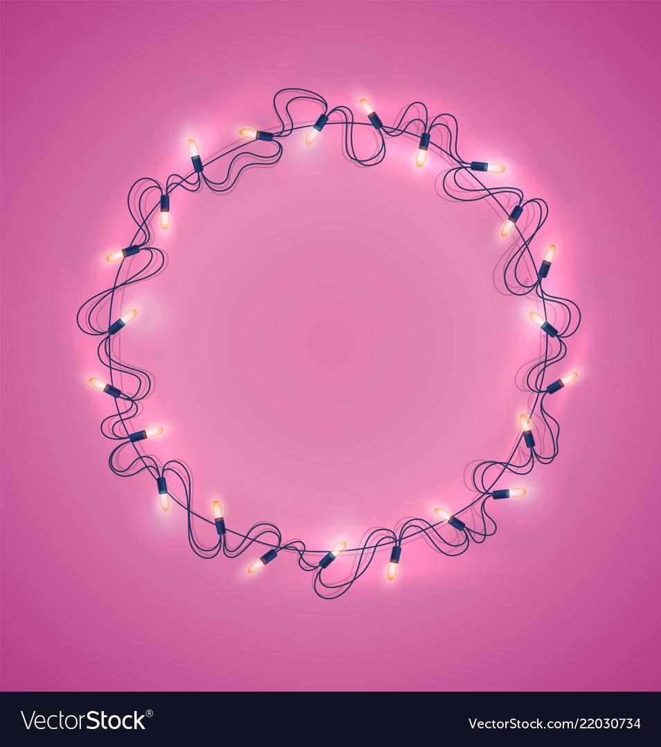 Christmas lights realistic garland on pink