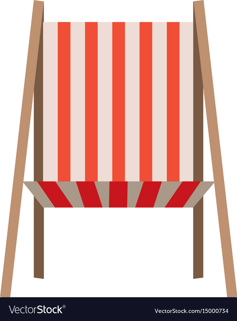 Color silhouette of beach chair front view vector image