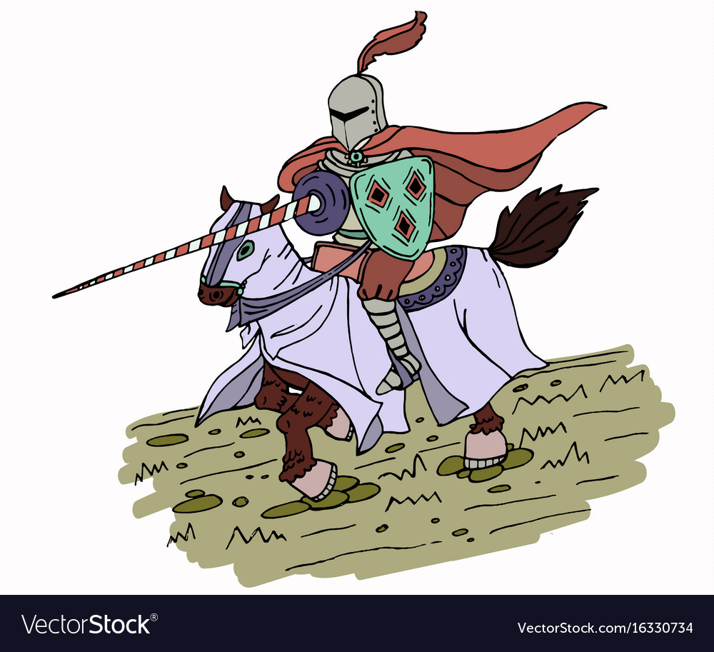 Colorful medieval spear knight on horse vector image