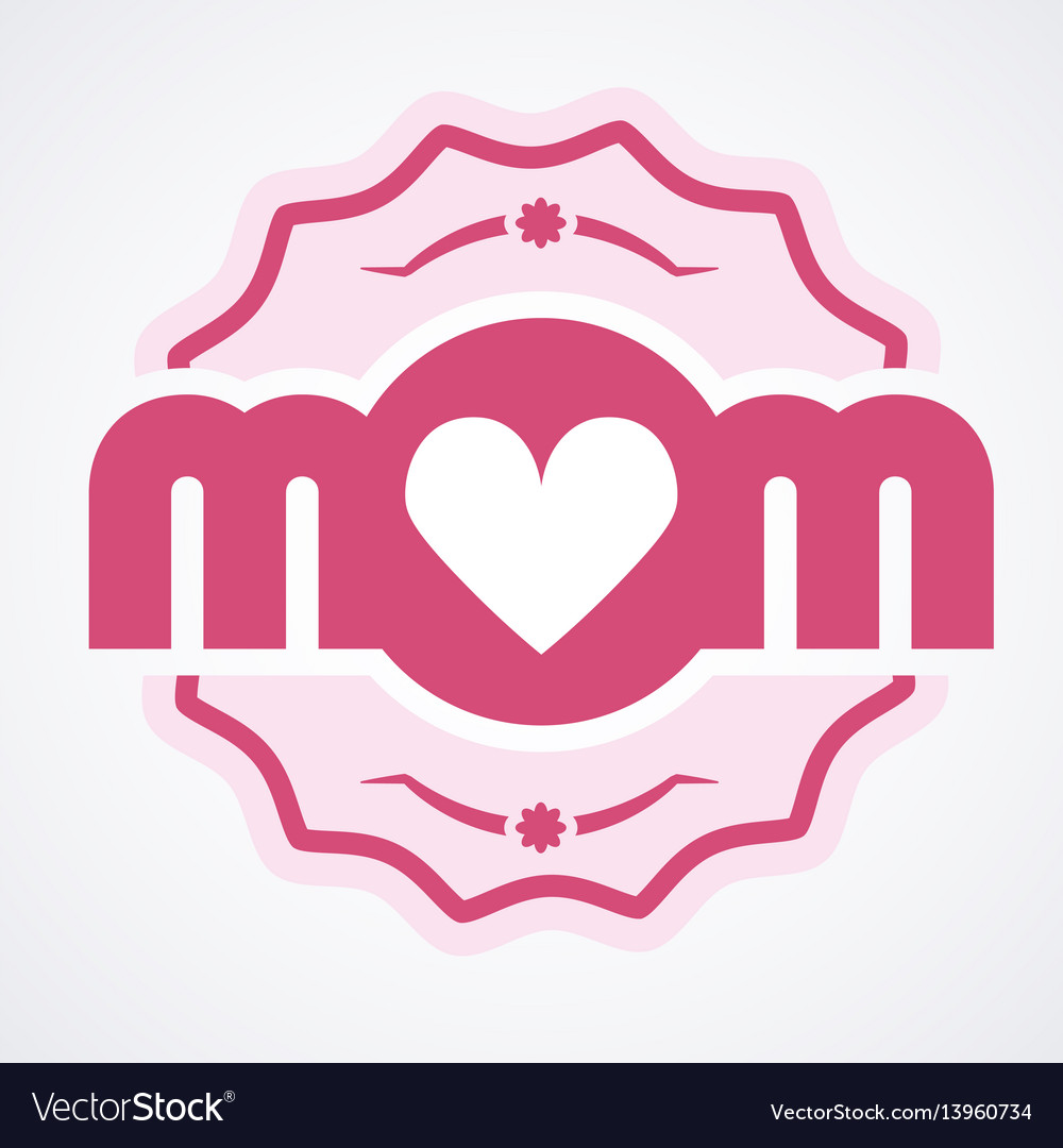 Colorful mom emblem design elements for