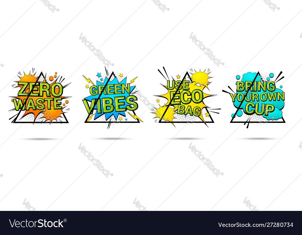 Colorful save earth comic banners set