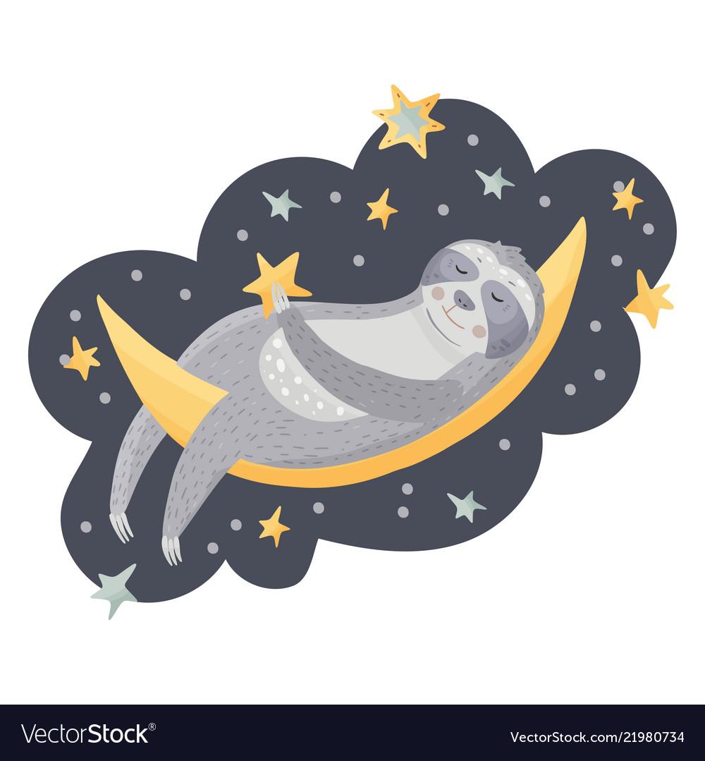 Cute cartoon sloth sleeping on the moon