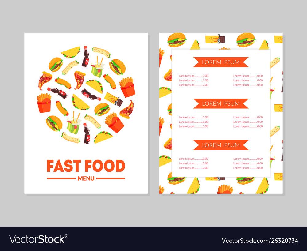 Fast food menu template restaurant brochure