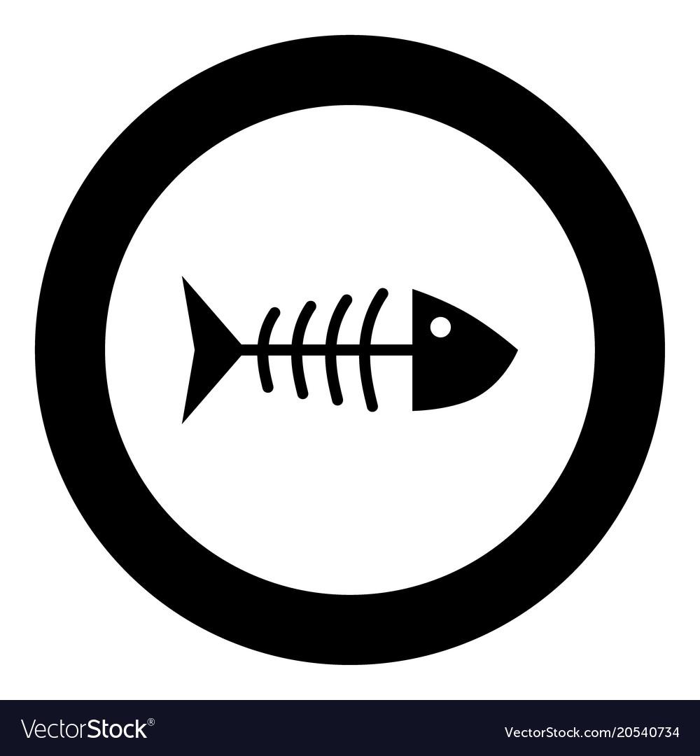 Fish sceleton black icon in circle