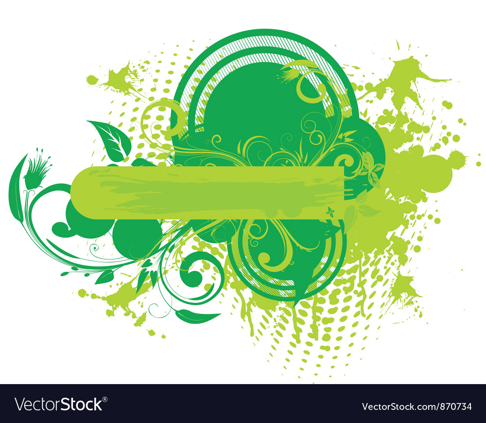 Floral frame with grunge vector image