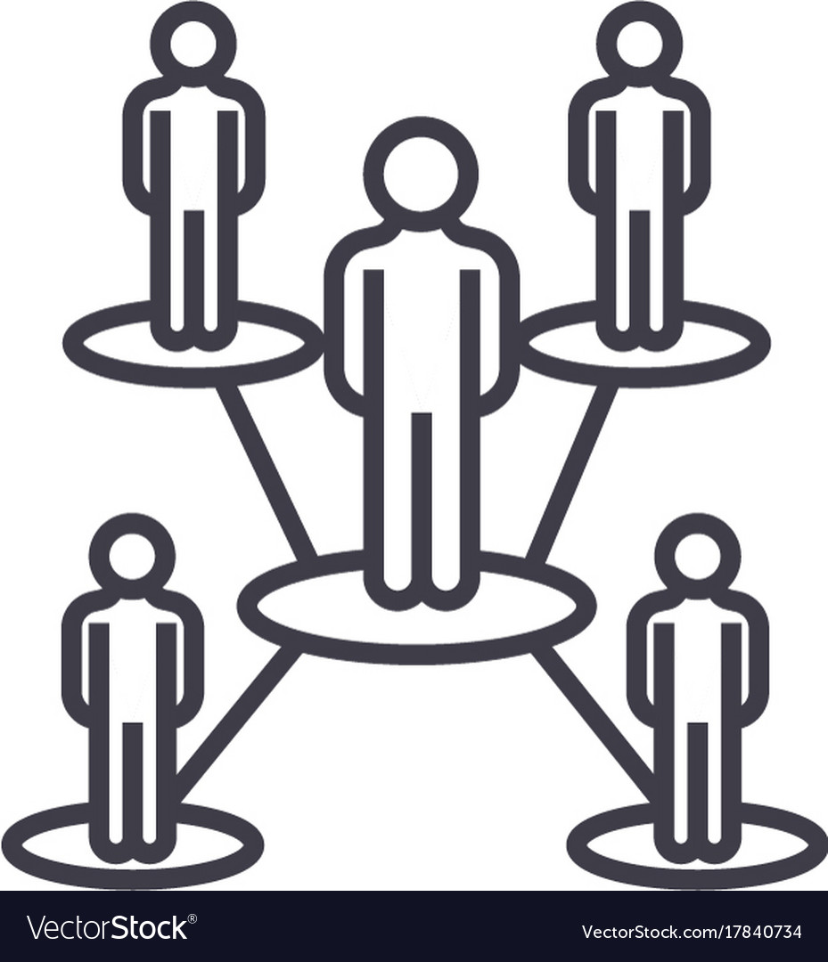 People network line icon sign