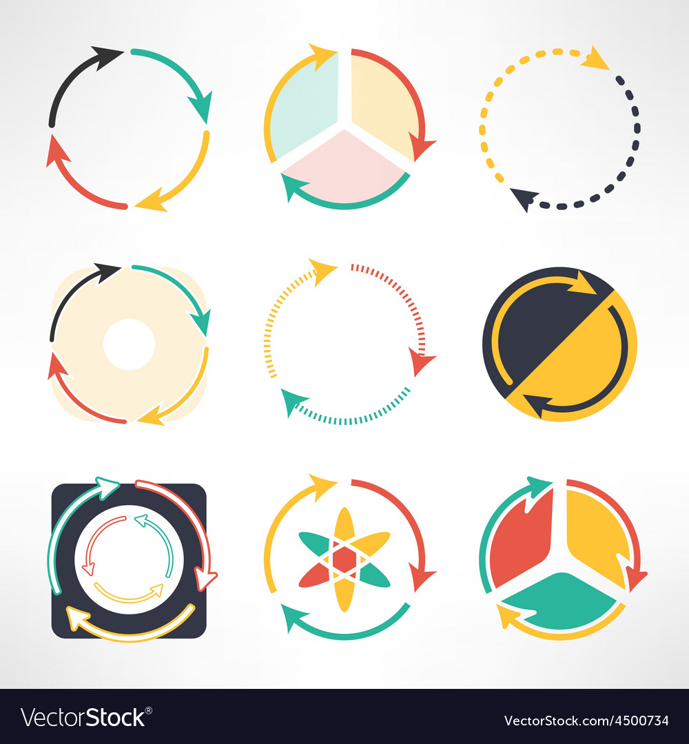 Recycle simple flat icons set Round arrows