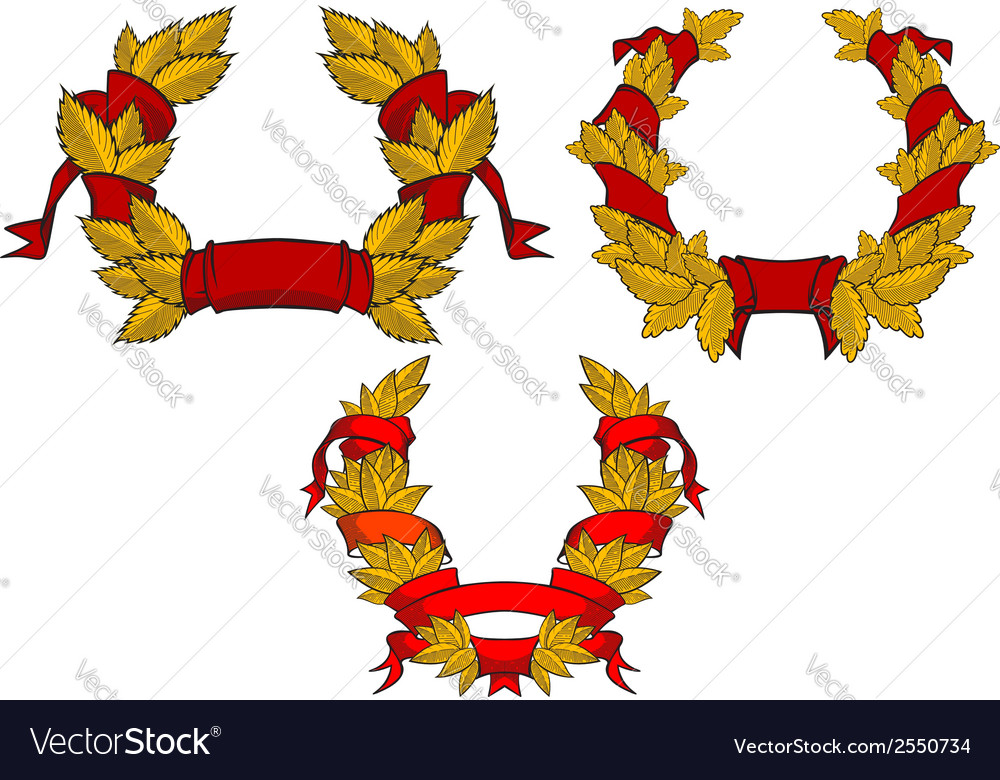 Retro wreaths with red ribbons vector image