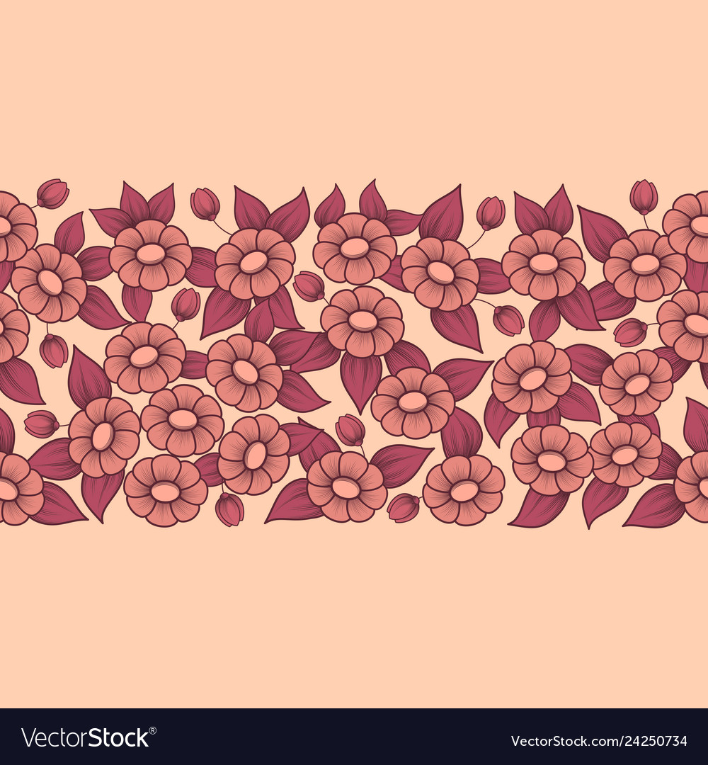 Seamless coral full floral brush
