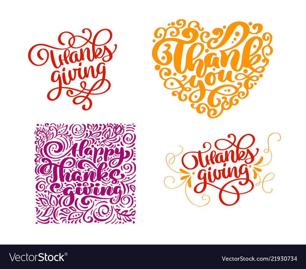 Set of calligraphy text thank you for happy
