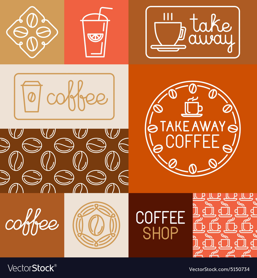 Set of design elements for coffee houses and shops