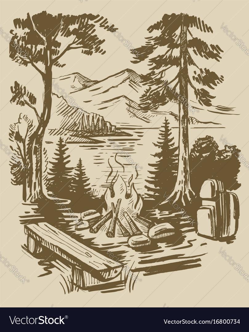Sketch tourism background vector image