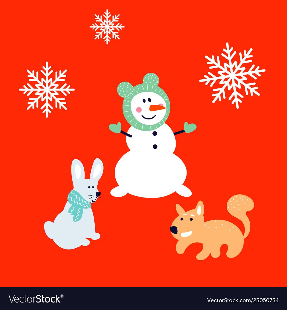 Snowman bunny and squirrel cartoon card new year