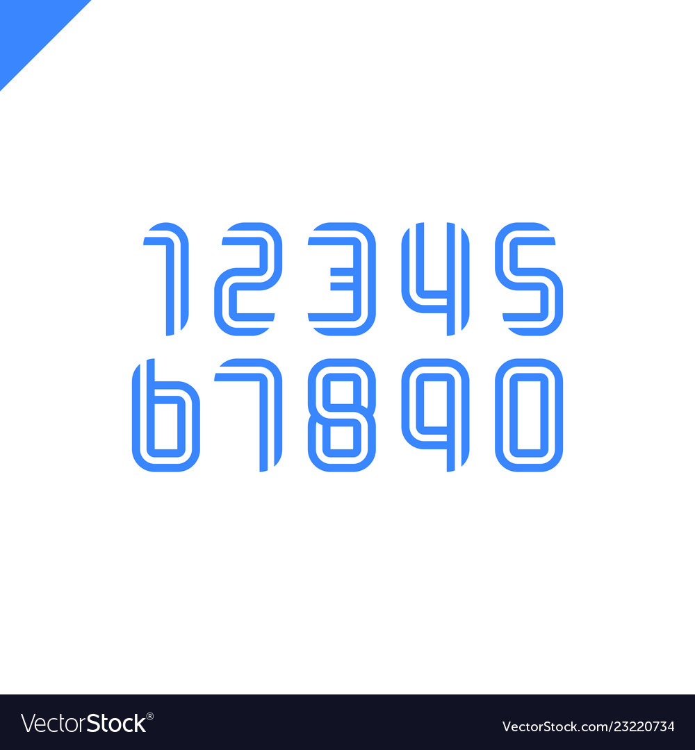 sport font numbers set logos formed by parallel vector image
