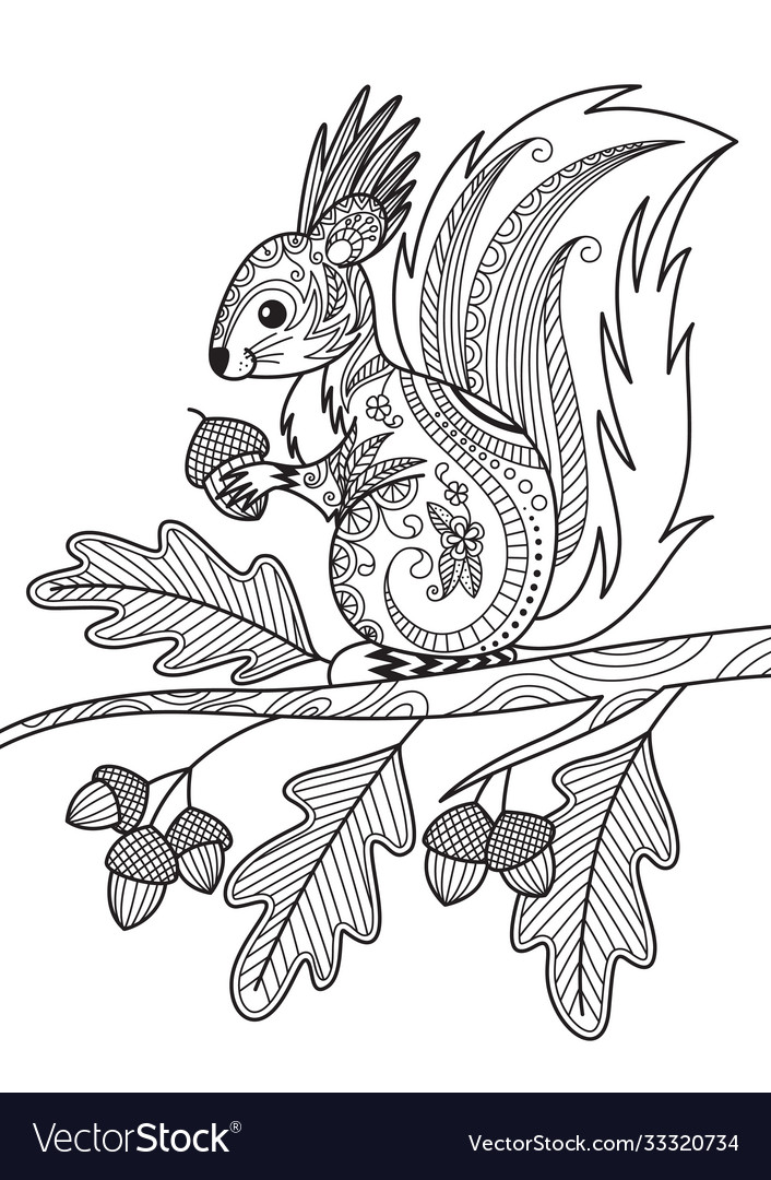 Squirrel doodle coloring book page antistress