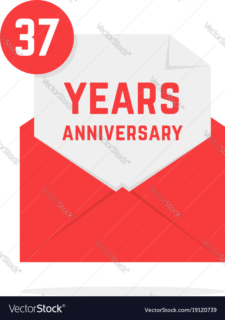 37 years anniversary icon in red open letter