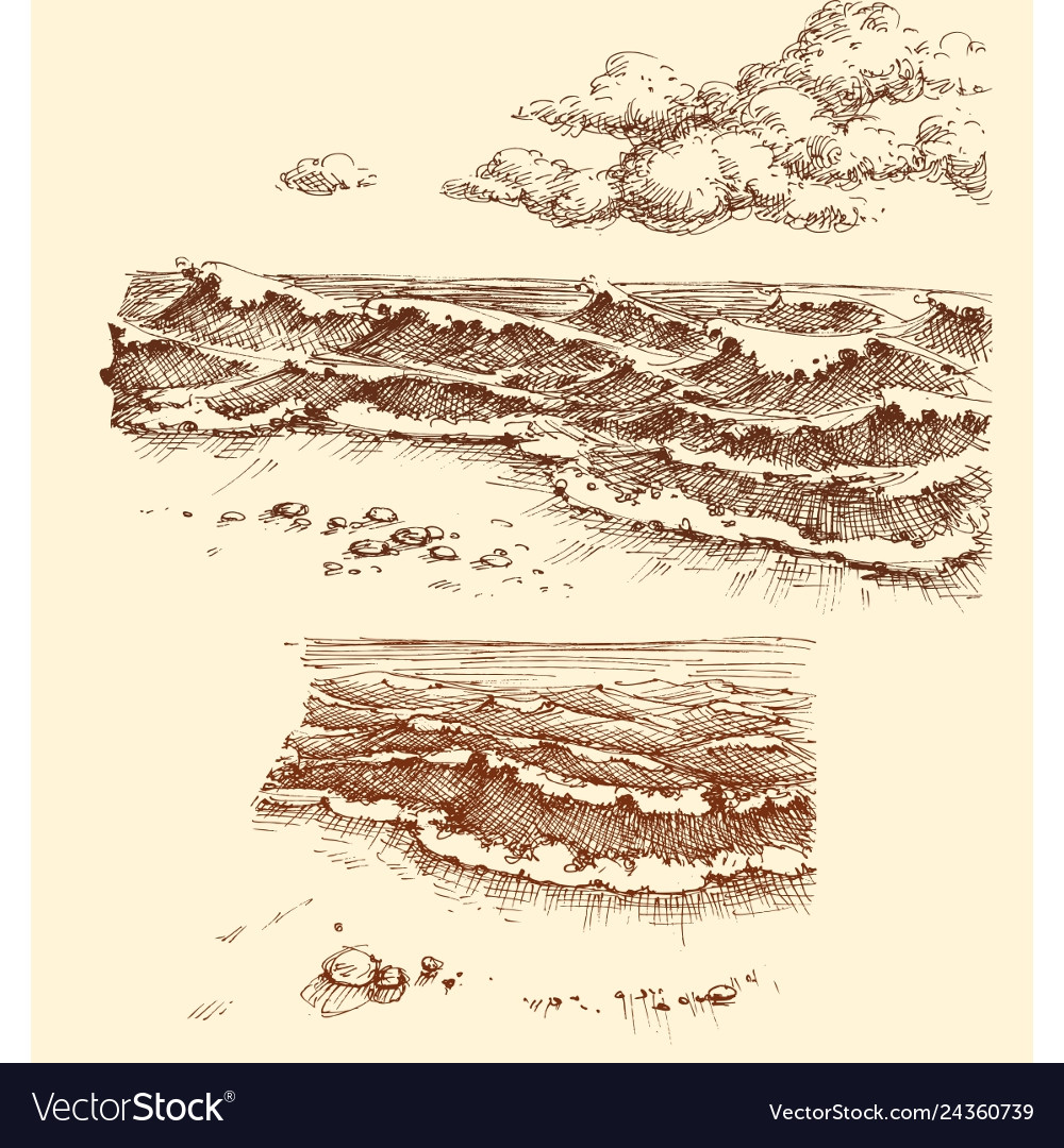 Beach and sea view set drawing collection