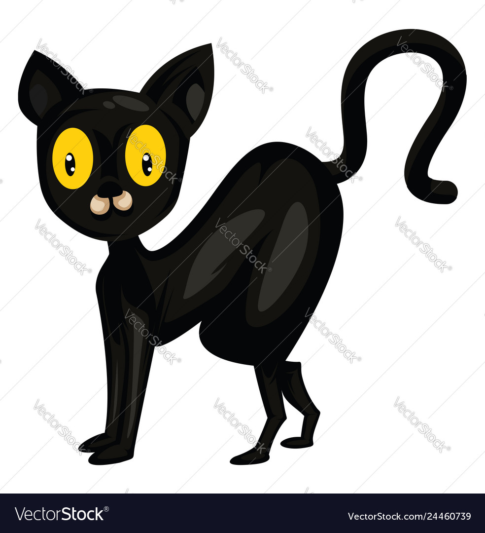 Black Cat With Big Yellow Eyes On White Background Vector Image