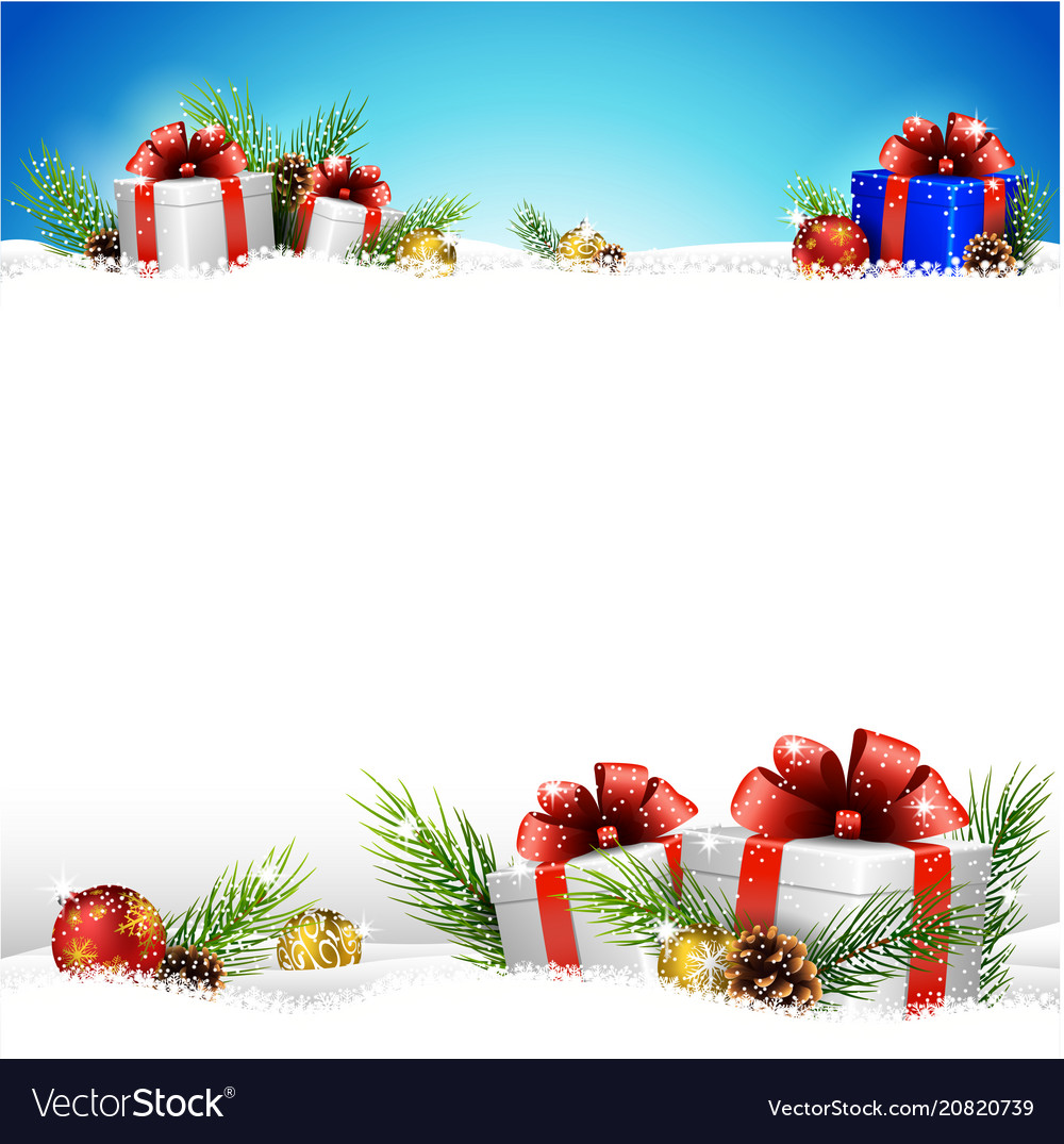 Christmas background with gifts and snow