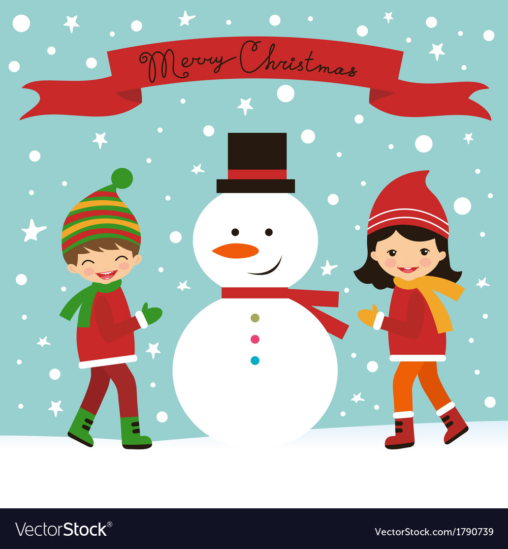 Christmas Card With Kids And Snowman Royalty Free Vector