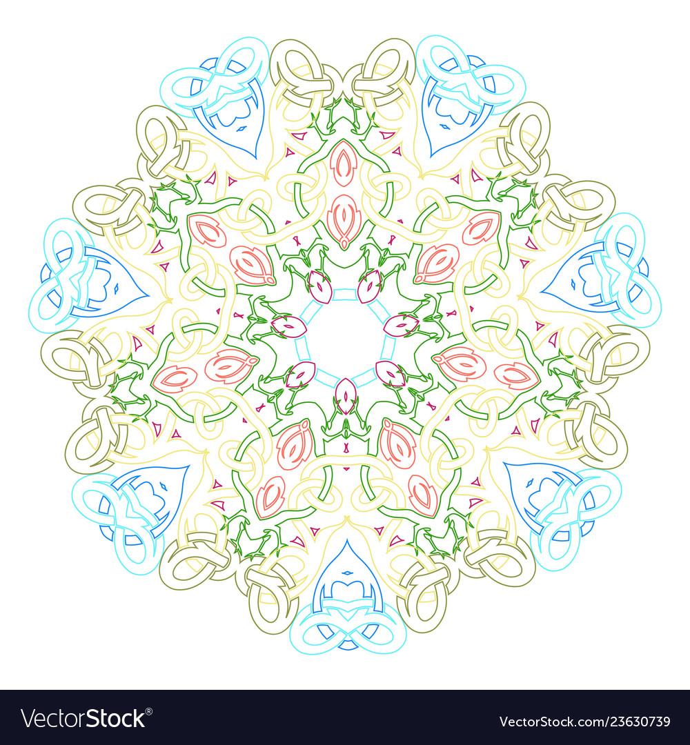 Circular symmetric mandala on white background of