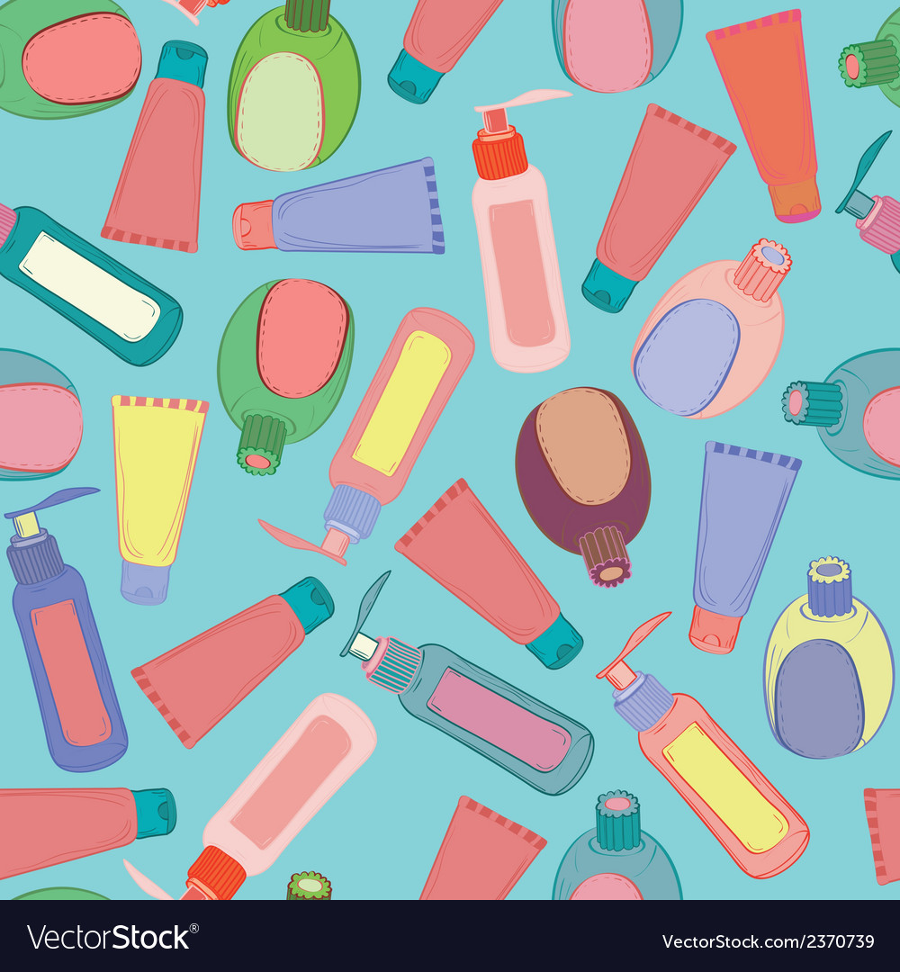 Cosmetic bottles pattern vector image