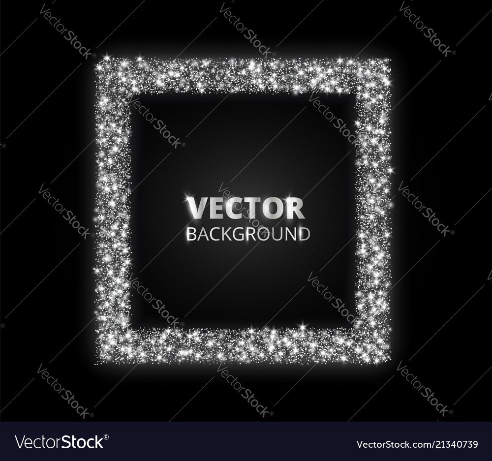 Festive silver sparkle background glitter border