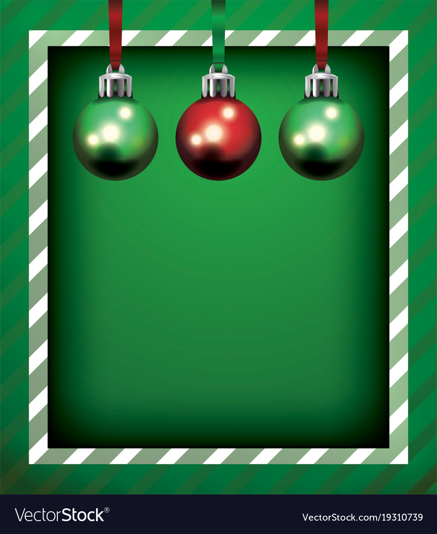 Green Christmas Holiday Frame And Ornaments