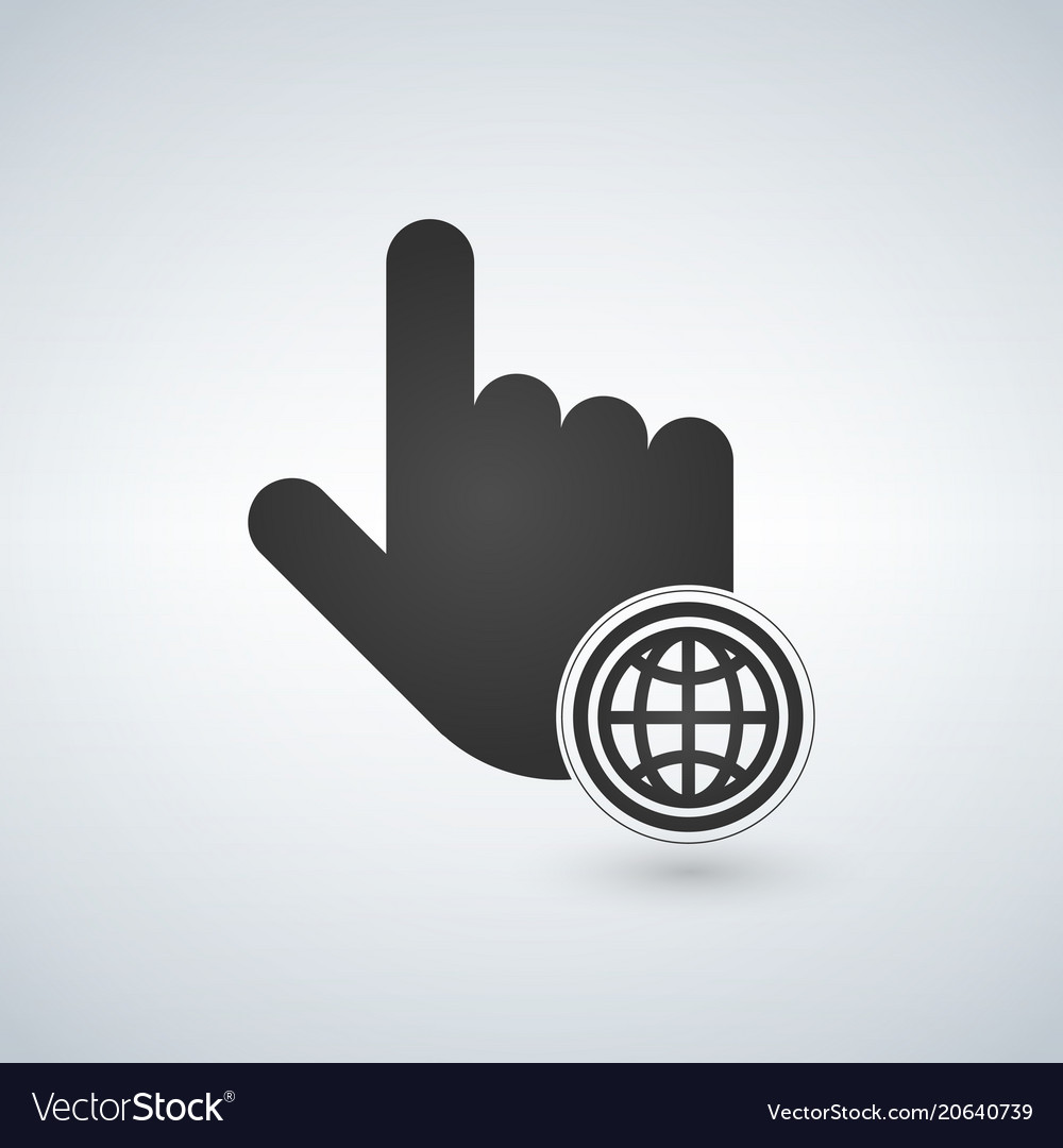 Hand mouse cursor with globe icon in the circle