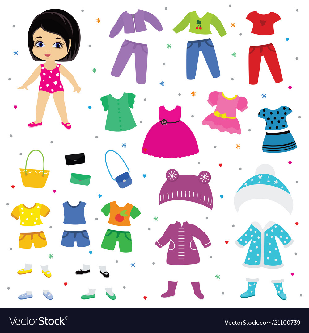 Paper doll dress up or clothing beautiful