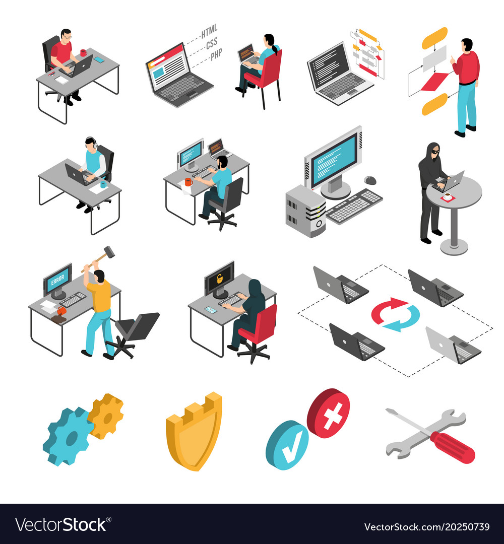 Programmers work isometric icons set