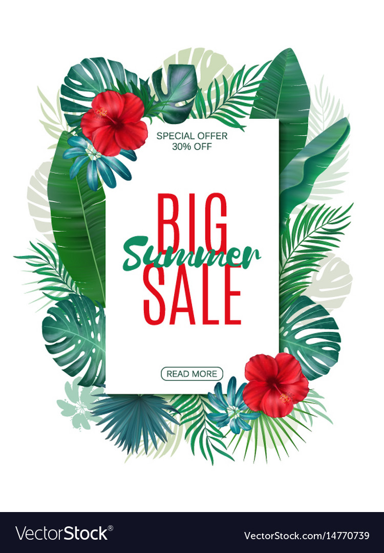 Sale banner poster with exotic leaves jungle
