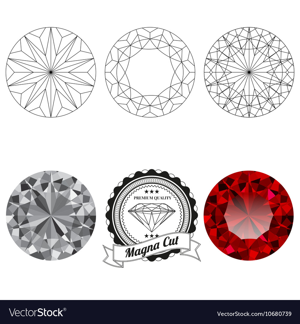 Set of magna cut jewel views vector image