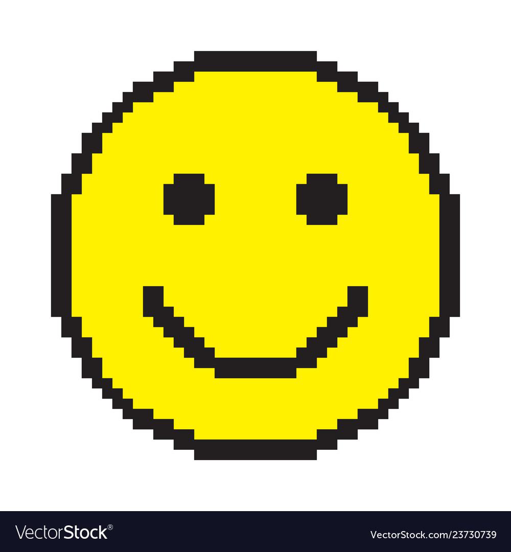 Smile Icon Happy Face Symbol Pixel Art