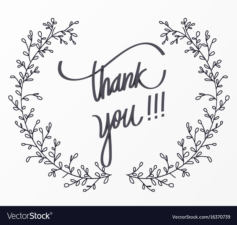 Thank you lettering for decorative card