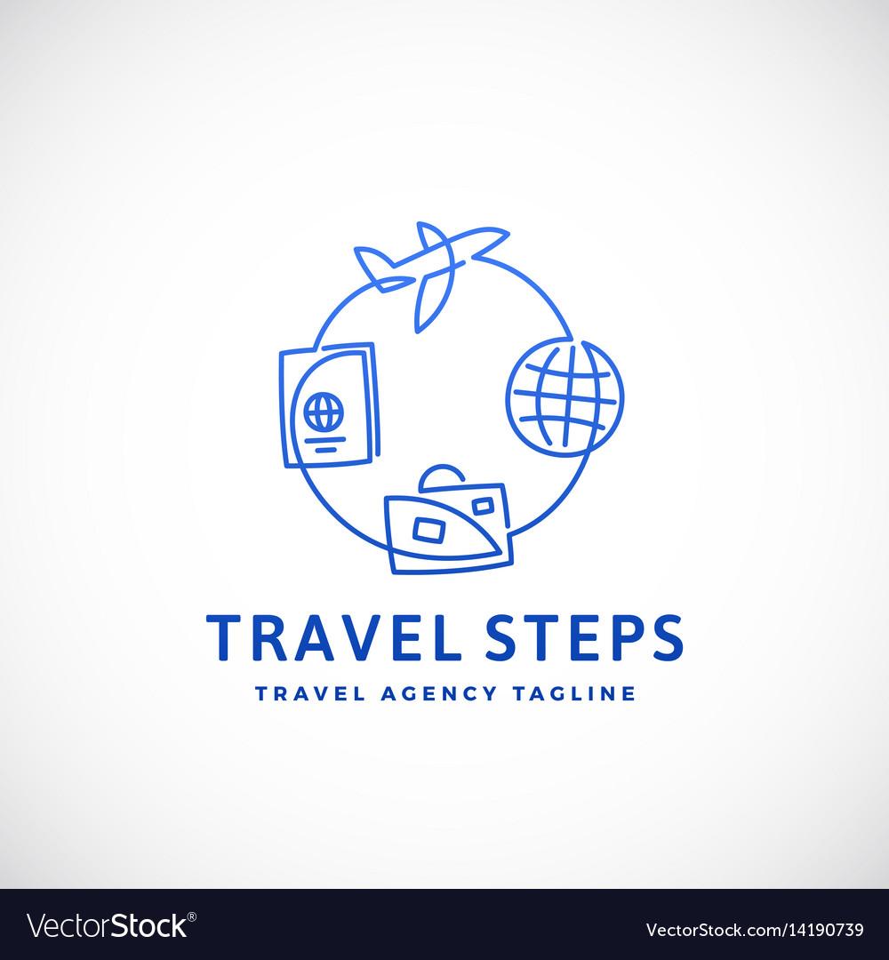 Travel steps abstract sign emblem or logo