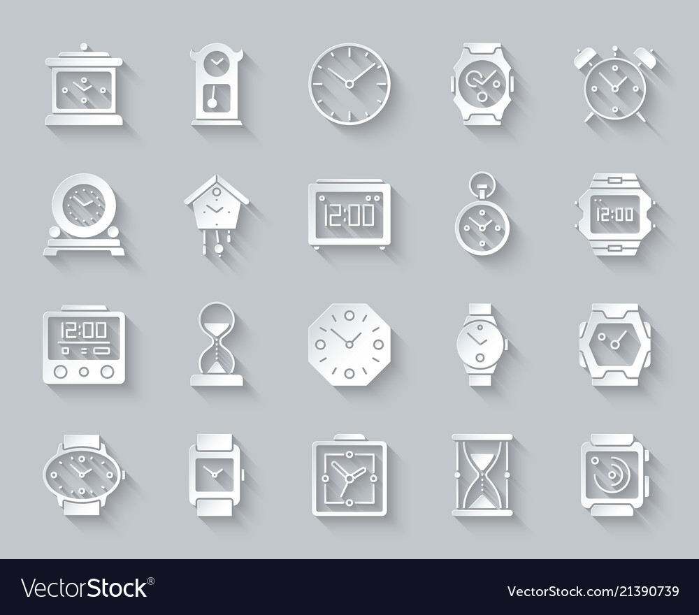 Watch simple paper cut icons set