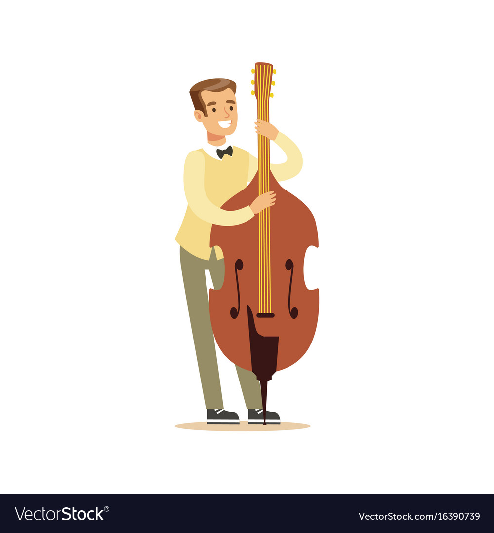Young Cellist Playing Cello Vector Image