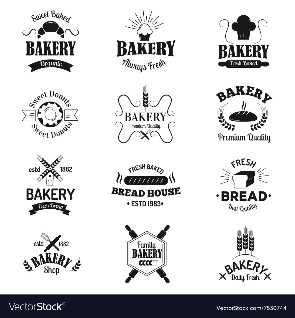 Bakery badges and logo icons thin modern style