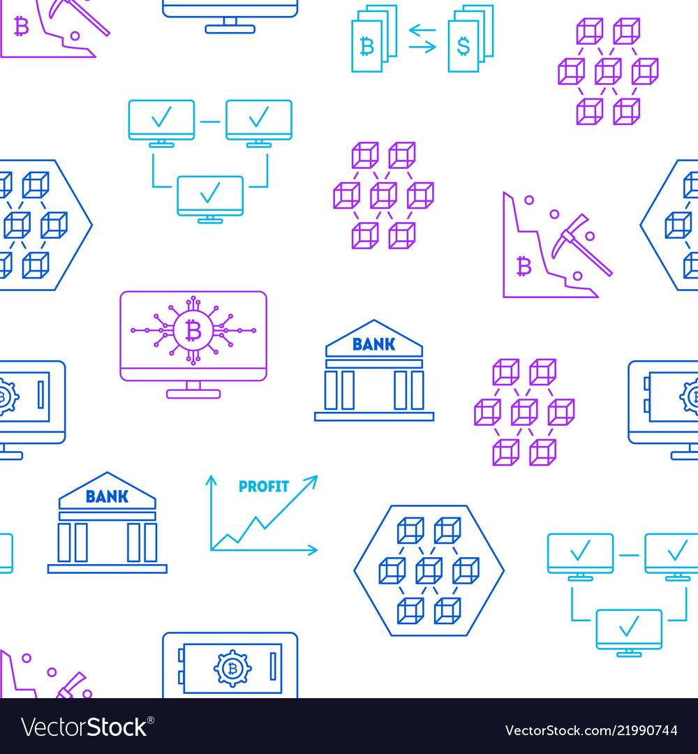 Blockchain thin line seamless pattern background