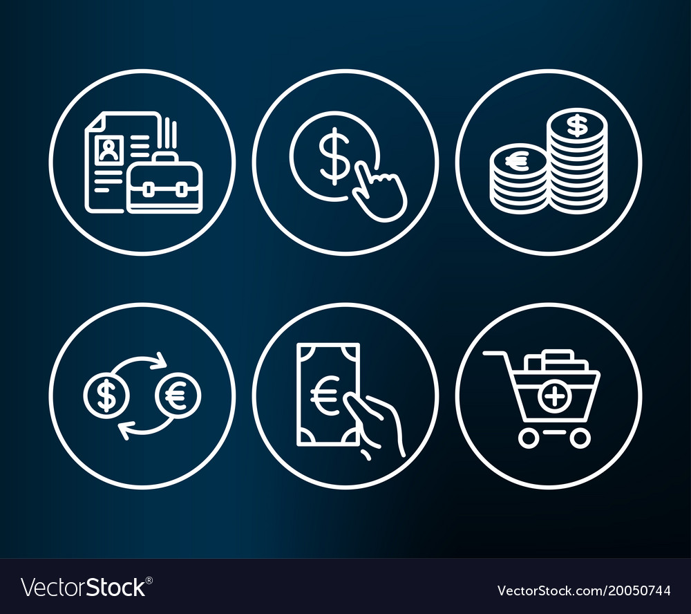 Buy currency currency exchange and finance icons vector image