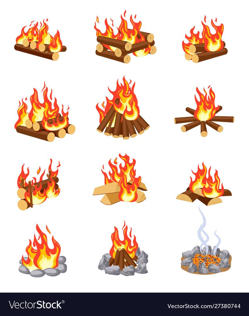 Cartoon bonfire summer campfires flame with