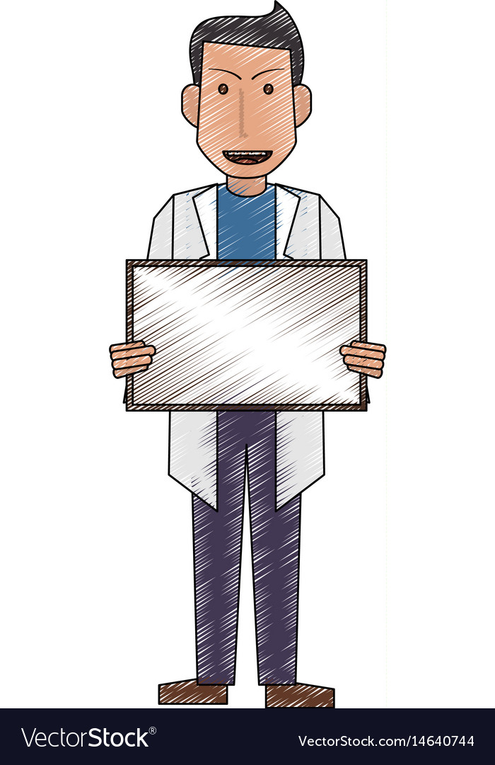 Color pencil full body caricature doctor male with
