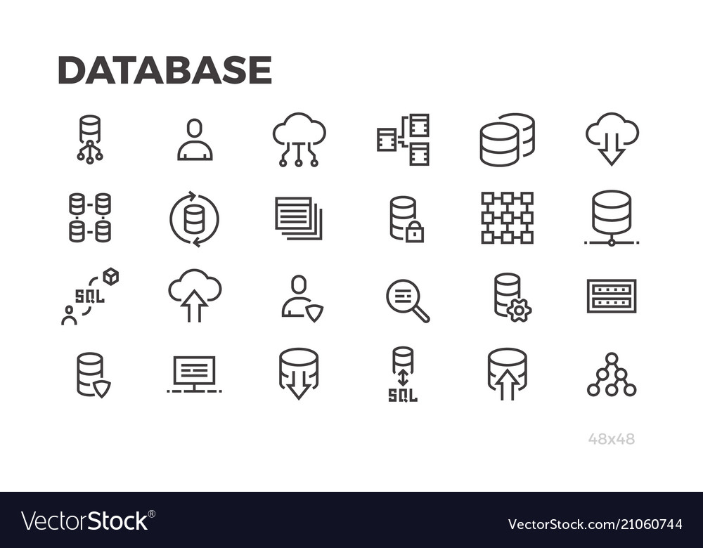 Database icons server data processing cloud