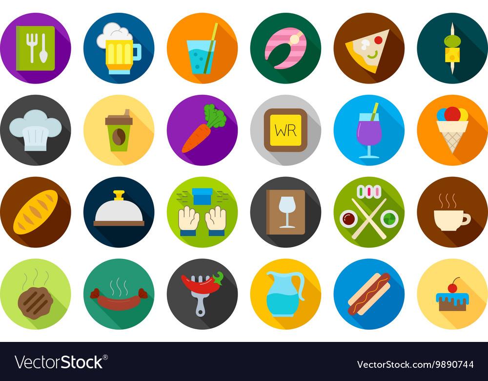 Diner round icons set
