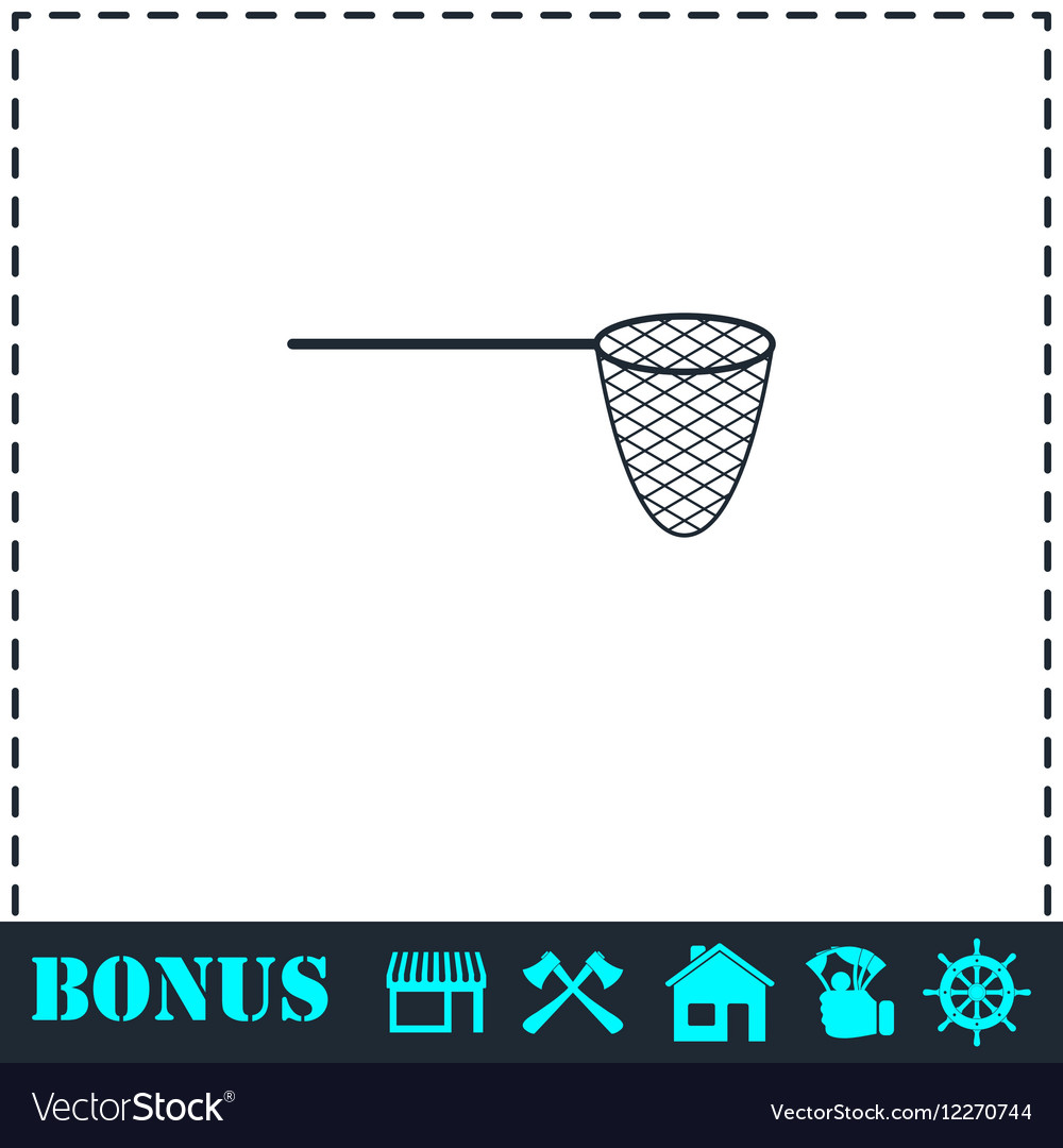 Fishing net icon flat