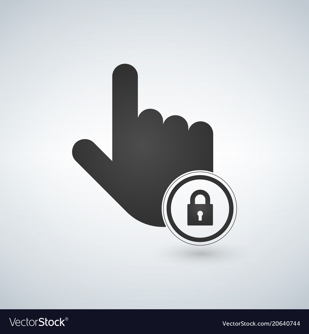 Hand icon touch screen locked icon click symbol vector image