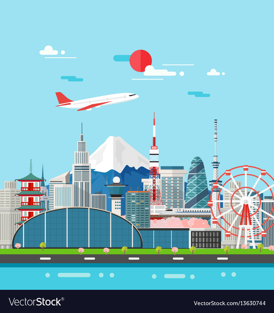 Japan buildings travel place and landmark vector image