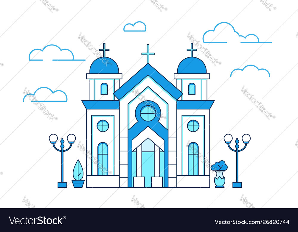Line art house christian church in greece with